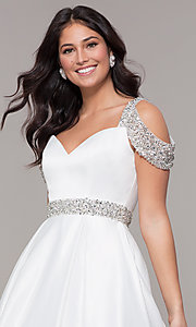Image of cold-shoulder sweetheart long a-line prom dress. Style: NA-R224 Detail Image 6