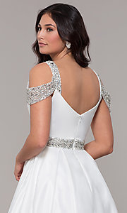 Image of cold-shoulder sweetheart long a-line prom dress. Style: NA-R224 Detail Image 7