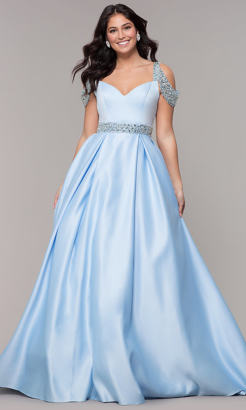 Image of cold-shoulder sweetheart long a-line prom dress. Style: NA-R224 Front Image