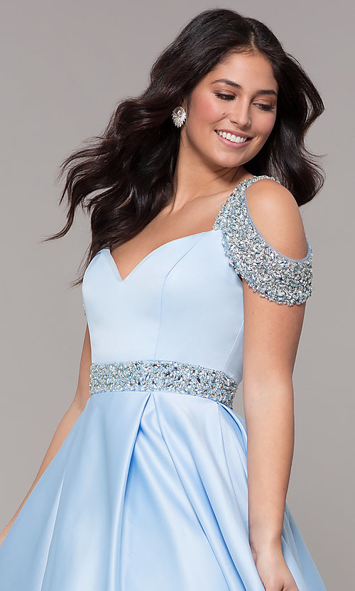 Image of cold-shoulder sweetheart long a-line prom dress. Style: NA-R224 Detail Image 1
