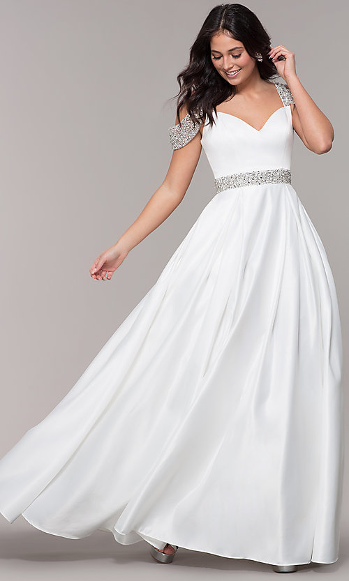 Image of cold-shoulder sweetheart long a-line prom dress. Style: NA-R224 Detail Image 4