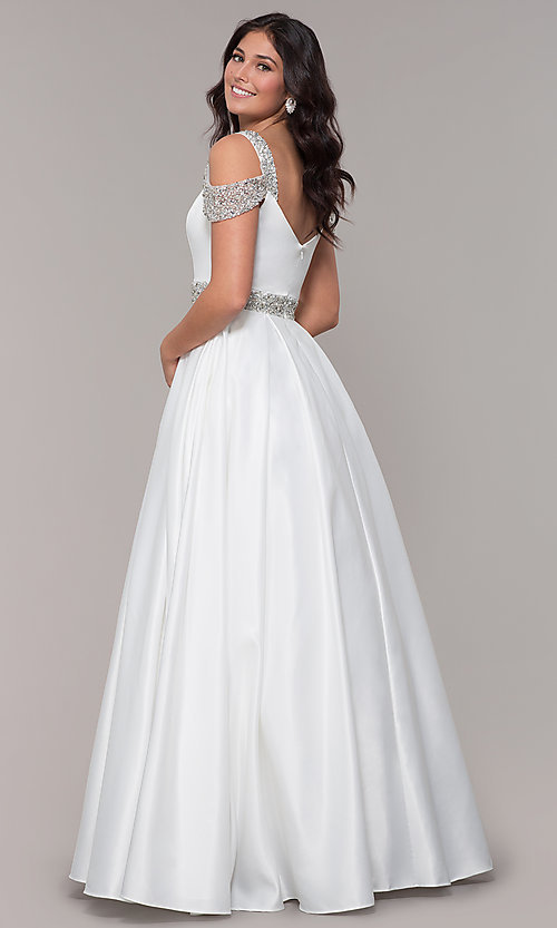 Image of cold-shoulder sweetheart long a-line prom dress. Style: NA-R224 Detail Image 5