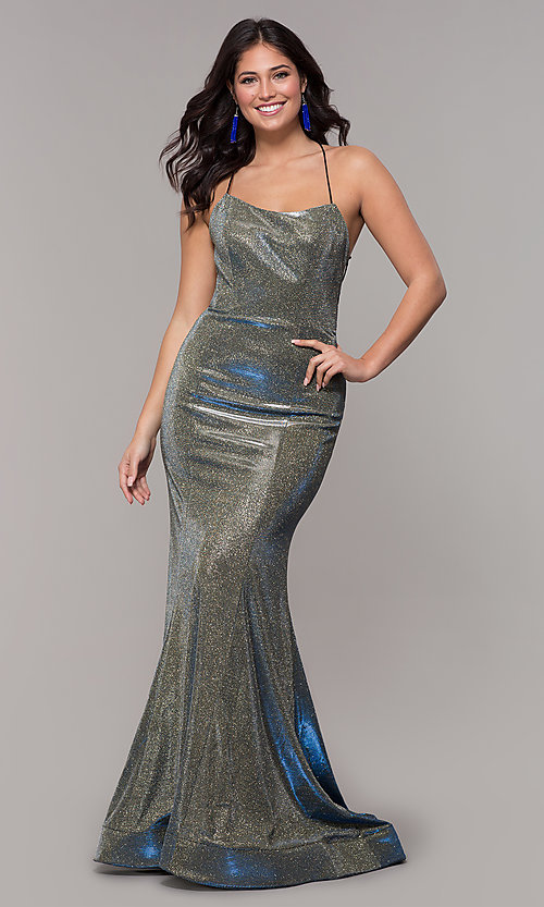 22b28937e0 Image of long metallic-satin corset mermaid prom dress. Style  NA-R273