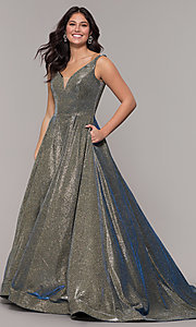 Image of long metallic-satin v-neck prom dress in mink gold. Style: NA-R274 Front Image