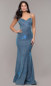 Image of metallic jersey lace-up-back mermaid prom dress. Style: DQ-2698 Detail Image 3