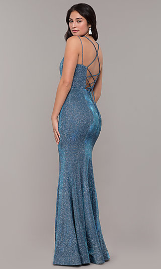 26e0312bb765 Metallic Jersey Lace-Up-Back Mermaid Prom Dress