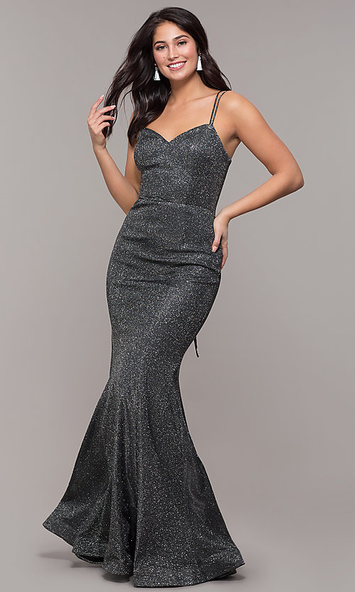 Image of metallic jersey lace-up-back mermaid prom dress. Style: DQ-2698 Detail Image 4