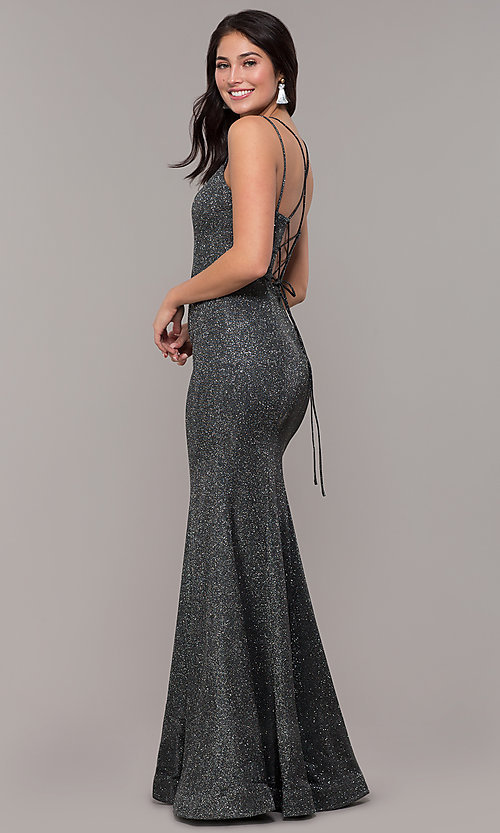 Image of metallic jersey lace-up-back mermaid prom dress. Style: DQ-2698 Detail Image 5