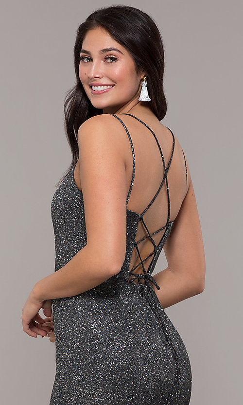 Image of metallic jersey lace-up-back mermaid prom dress. Style: DQ-2698 Detail Image 7