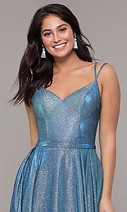Image of metallic long sweetheart formal sparkly prom dress. Style: DQ-2720 Detail Image 4