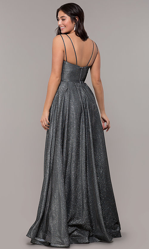 Image of metallic long sweetheart formal sparkly prom dress. Style: DQ-2720 Detail Image 7