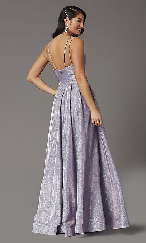 Image of metallic long sweetheart formal sparkly prom dress. Style: DQ-2720 Back Image
