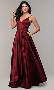 Image of long a-line v-neck prom dress. Style: DQ-2825 Detail Image 4