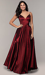 Image of long a-line v-neck prom dress. Style: DQ-2825 Detail Image 3