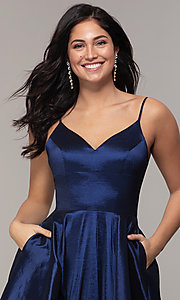 Image of long a-line v-neck prom dress. Style: DQ-2825 Detail Image 1