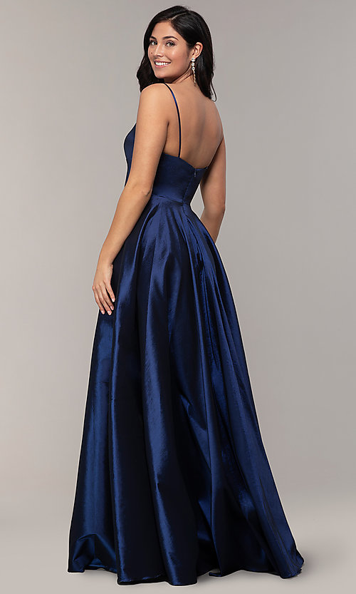 Image of long a-line v-neck prom dress. Style: DQ-2825 Back Image
