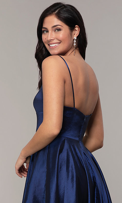 Image of long a-line v-neck prom dress. Style: DQ-2825 Detail Image 2