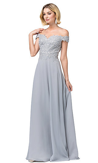Long Lace-Bodice Off-Shoulder Sweetheart Prom Dress