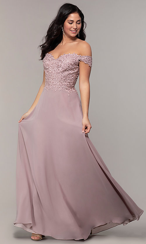 Image of long lace-bodice off-shoulder sweetheart prom dress. Style: DQ-2492 Detail Image 6