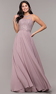 Image of long chiffon embroidered-bodice prom dress. Style: DQ-2234 Detail Image 5