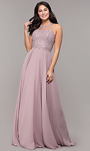 Image of long chiffon embroidered-bodice prom dress. Style: DQ-2234 Detail Image 3