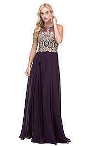 Image of long chiffon embroidered-bodice prom dress. Style: DQ-2234 Detail Image 7