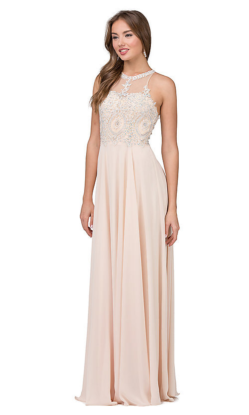 Image of long chiffon embroidered-bodice prom dress. Style: DQ-2234 Detail Image 6