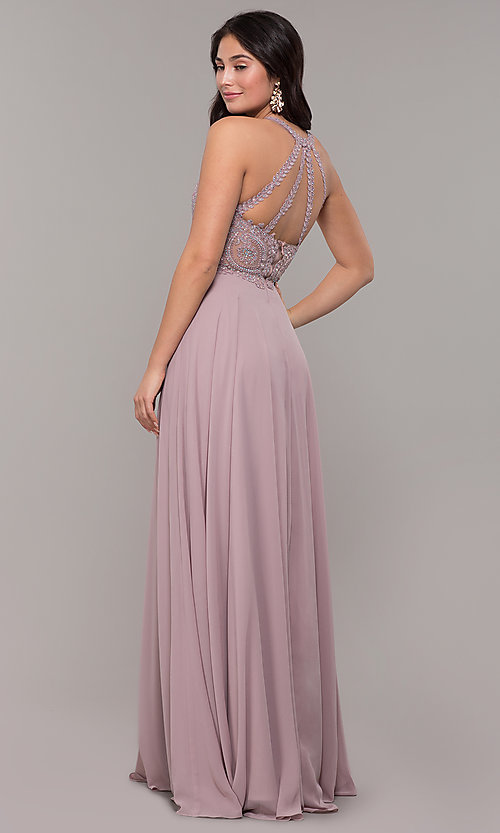 Image of long chiffon embroidered-bodice prom dress. Style: DQ-2234 Back Image