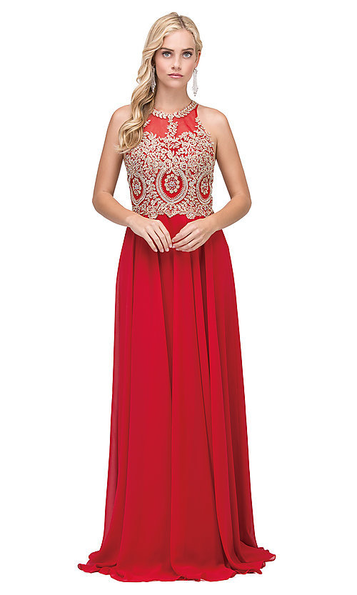 Image of long chiffon embroidered-bodice prom dress. Style: DQ-2234 Detail Image 4