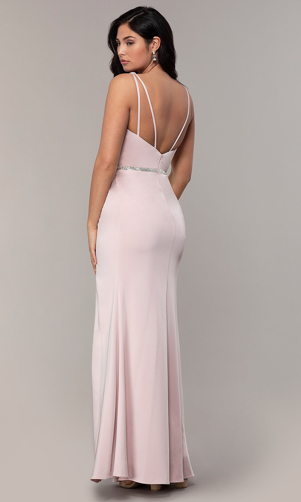 Long Faux-Wrap Embroidered V-Neck Prom Dress   Formal
