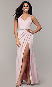 Image of long faux-wrap embellished-waist prom dress. Style: DQ-2632 Detail Image 3