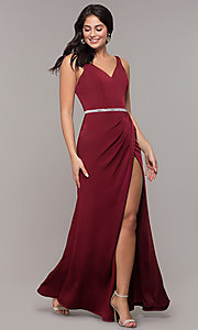 Image of long faux-wrap embellished-waist prom dress. Style: DQ-2632 Front Image