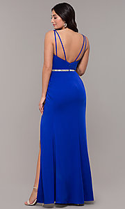 Image of long faux-wrap embellished-waist prom dress. Style: DQ-2632 Detail Image 5
