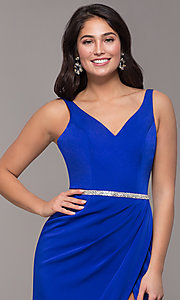 Image of long faux-wrap embellished-waist prom dress. Style: DQ-2632 Detail Image 6