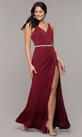 Long Faux-Wrap Embellished-Waist Prom Dress