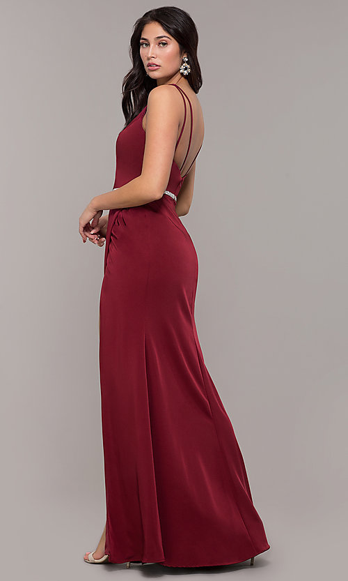 Image of long faux-wrap embellished-waist prom dress. Style: DQ-2632 Back Image