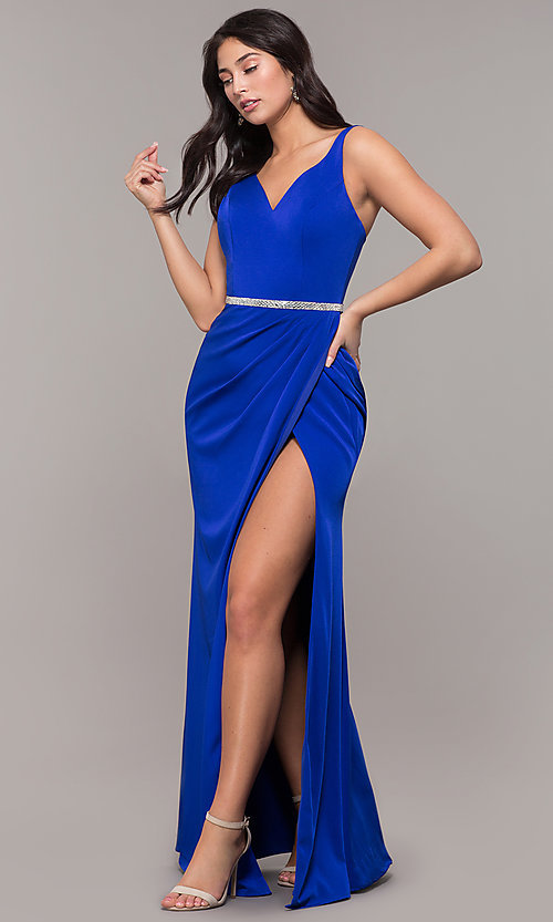 Image of long faux-wrap embellished-waist prom dress. Style: DQ-2632 Detail Image 4