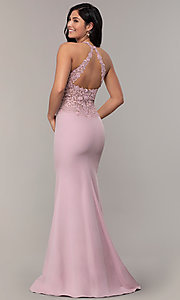 Image of rhinestone-embroidered-bodice long prom dress. Style: DQ-2787 Detail Image 5