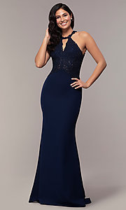 Image of rhinestone-embroidered-bodice long prom dress. Style: DQ-2787 Front Image