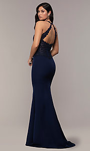 Image of rhinestone-embroidered-bodice long prom dress. Style: DQ-2787 Back Image