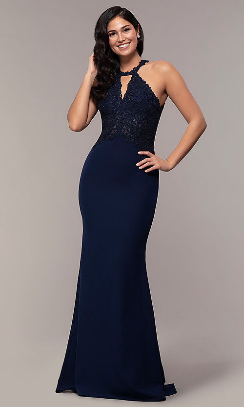 Image of rhinestone-embroidered-bodice long prom dress. Style: DQ-2787 Detail Image 4