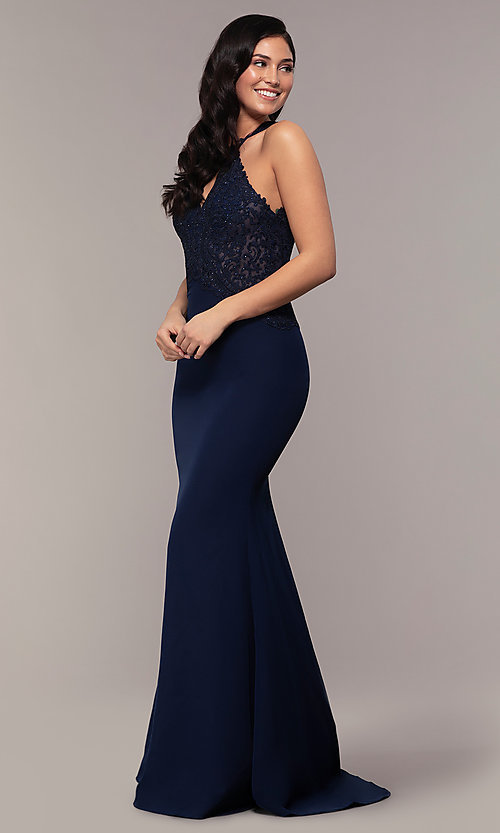 Image of rhinestone-embroidered-bodice long prom dress. Style: DQ-2787 Detail Image 3
