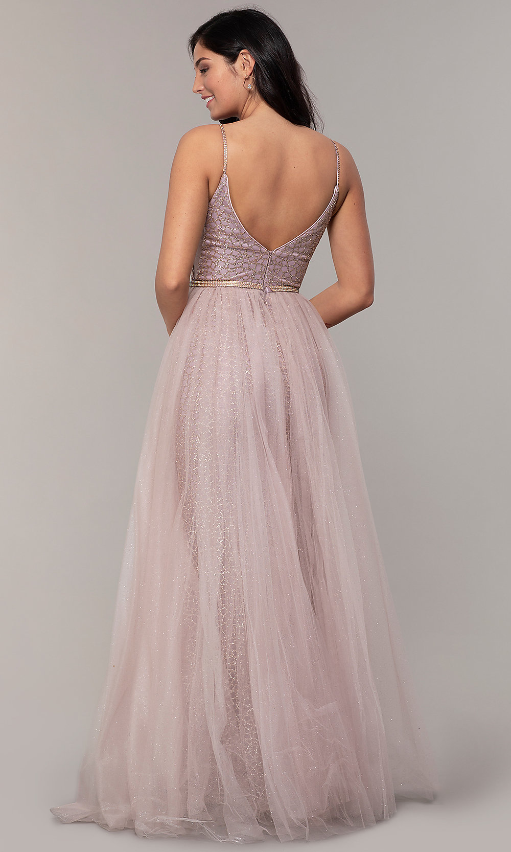 330475aab1a Image of glitter-mesh long prom dress with tulle overskirt. Style  DQ-. Tap  to expand