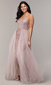 Image of glitter-mesh long prom dress with tulle overskirt. Style: DQ-2595 Front Image