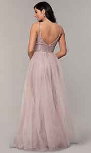 Image of glitter-mesh long prom dress with tulle overskirt. Style: DQ-2595 Back Image