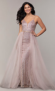Image of glitter-mesh long prom dress with tulle overskirt. Style: DQ-2595 Detail Image 3