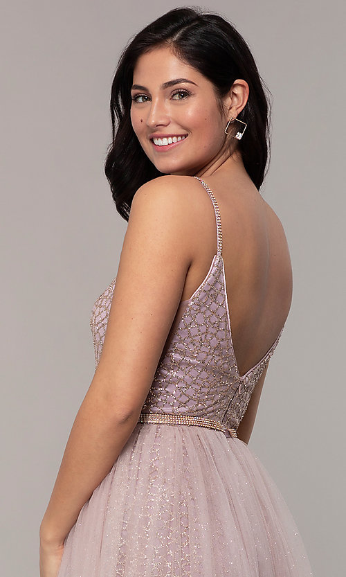 Image of glitter-mesh long prom dress with tulle overskirt. Style: DQ-2595 Detail Image 2