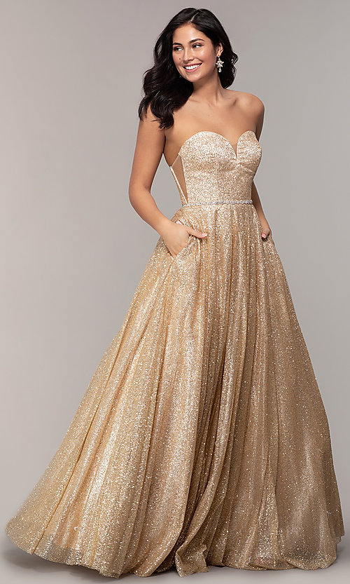 f66bf919a3df9 Strapless Sweetheart Long Glitter Mesh Prom Dress