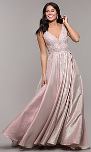 Image of v-neck sparkly long formal prom dress with pockets. Style: DQ-2747 Front Image