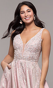 Image of v-neck sparkly long formal prom dress with pockets. Style: DQ-2747 Detail Image 1